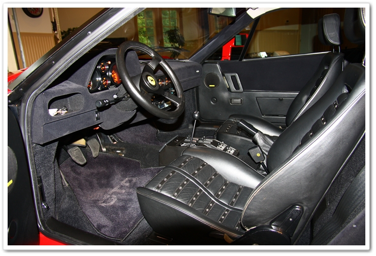 Interior detail of a 1985 Ferrari 288 GTO