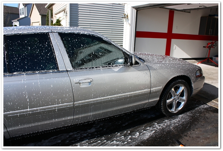 Mercury Marauder dwelling in Chemical Guys Citrus Wash and Clear shampoo from foam gun