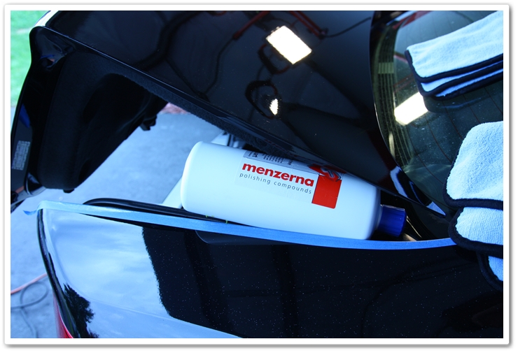 Using Menzerna polishes to prop the trunk lid so you can work on the lower portion of your trunk