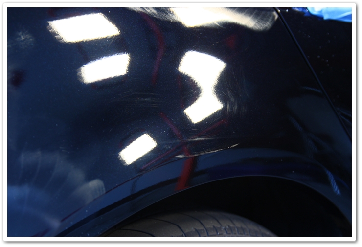 Right rear fender of an 2006 Acura TL in NBP prior to polishing