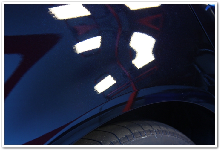 Right rear fender of an 2006 Acura TL in NBP after an Esoteric Auto Detail polishing