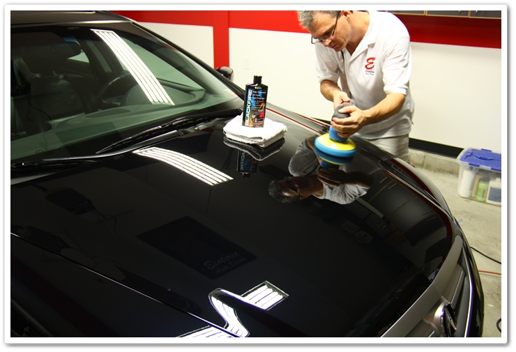 Applying Blackfire Wet Diamond to an Acura TL in Nighthawk Black Pearl using a Porter Cable 7424 XP buffer
