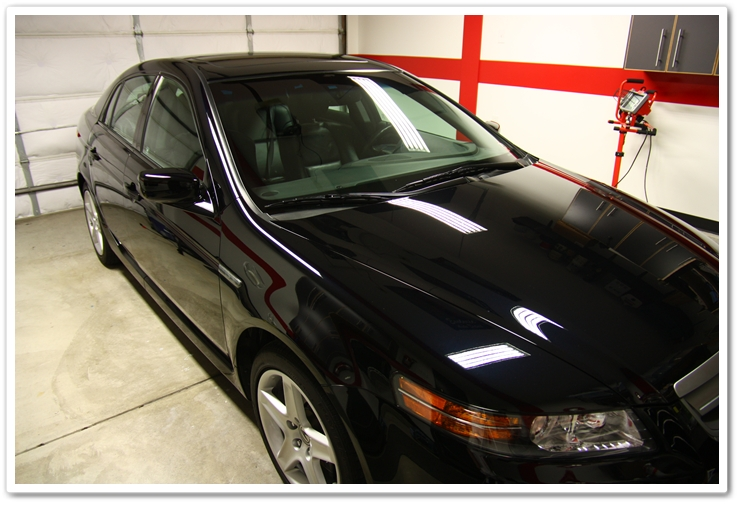 Blackfire Wet Diamond paint sealant on an Acura TL in Nighthawk Black Pearl after an Esoteric Auto Detail