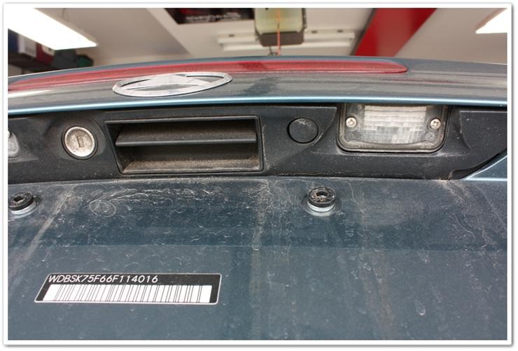 Before detailing underside of Mercedes SL500 trunk lid