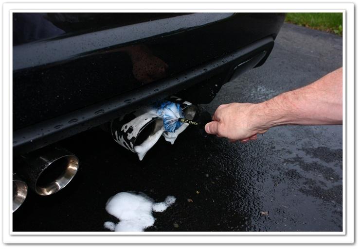 Using mini E-Z Detail Brush between exhaust tips