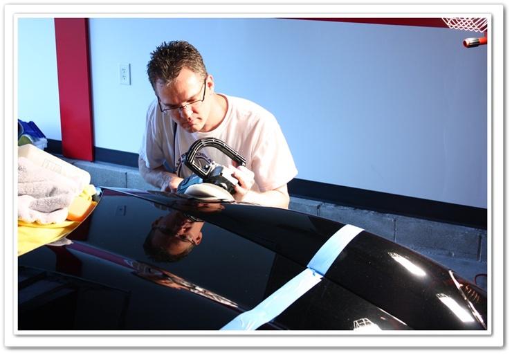 2008 black Chevy Z06 Corvette hood polished with Menzerna PO106FA Super Finish