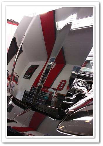 2008 black Z06 Chevy Corvette hood reflection