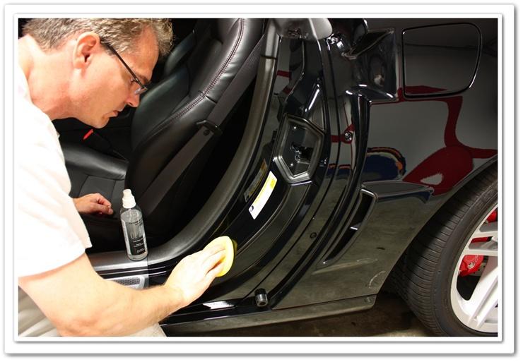 Applying OPT Opti-Seal to a 2008 black Z06 Chevy Corvette door jambs