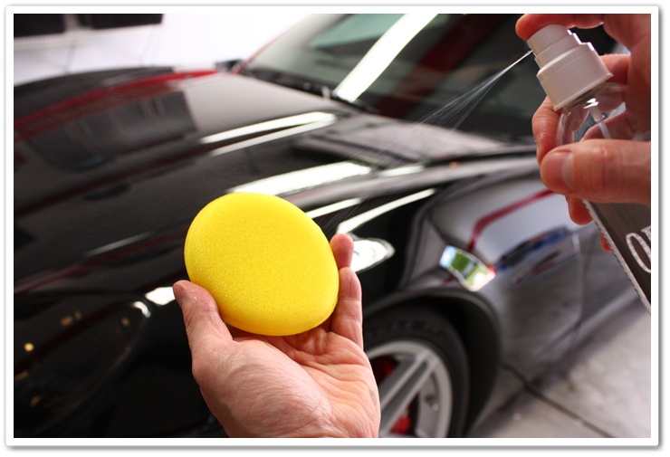 Optimum Opti-Seal priming applicator pad for use on a black Corvette