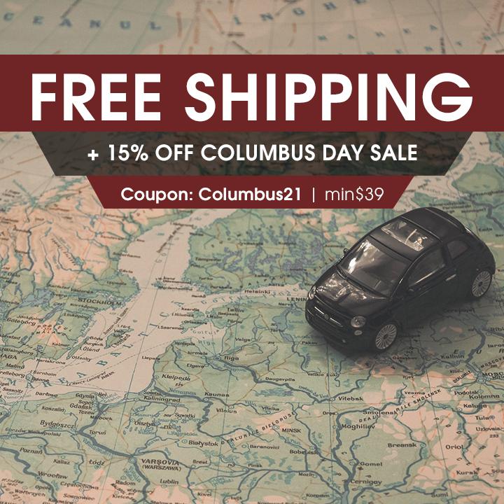 Free Shipping + 15% Off Columbus Day Sale - Coupon Columbus21 - Min $39