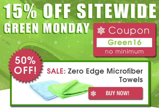 15% Off Sitewide - Green Monday - Coupon: Green16 - 50% Off Sale - Zero Edge Microfiber Towels - Buy Now