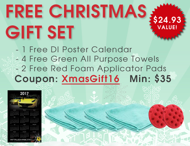 Free Christmas Gift Set - 1 Free DI Poster Calendar - 4 Free Green All Purpose Towels - 2 Red Foam Applicator Pads - Coupon: XmasGift16 - Min: $35 - $24.93 Value!