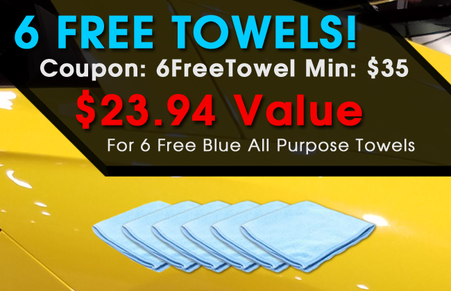 6 Free Towels! Coupon: 6FreeTowel Min: $35 - $23.94 Vlaue For 6 Free Blue All Purpose Towels