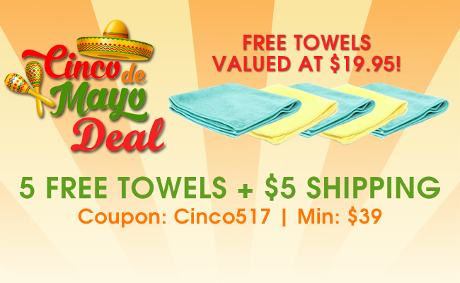 Cinco De Mayo Deal - 5 Free Towels + $5 Shipping - Free Towels Valued At $19.95 - Coupon: Cinco517 - Min: $39