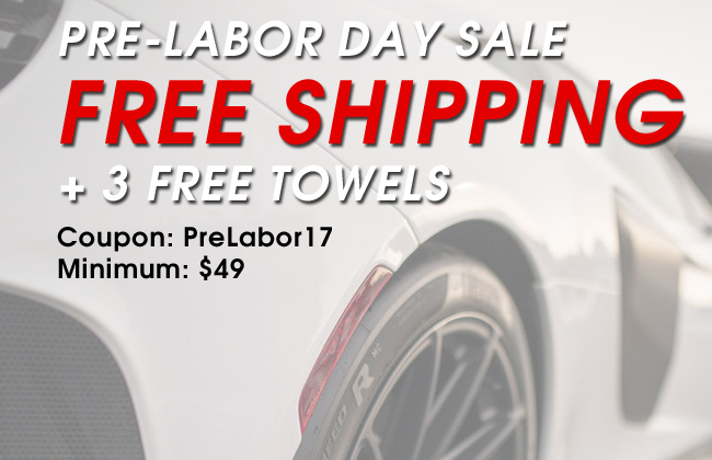 Pre-Labor Day Sale - Free Shipping + 3 Free Towels - Coupon: PreLabor17 - Min: $49