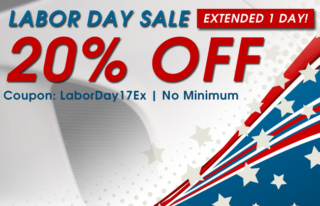 20% Off Labor Day Sale Extended 1 Day! Coupon: LaborDay17Ex - No minimum
