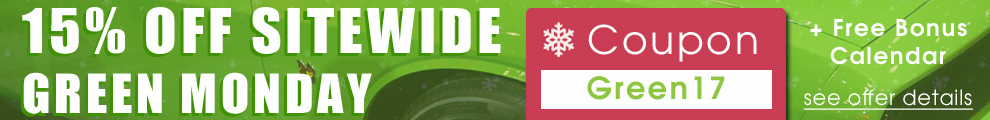 15% Off Sitewide Green Monday - Coupon Green17 - Plus Free Bonus Calendar - see offer details