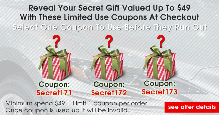 Reveal Your Secret Gift Valued Up TO $49 With These Limited Use Coupons At Checkout - Select One Coupon To Use Before They Run Out - Coupons: Secret171, Secret172, or Secret173 - Minimum spend $49 - Limit 1 coupon per order - Once coupon is used up it will be invalid - see offer details