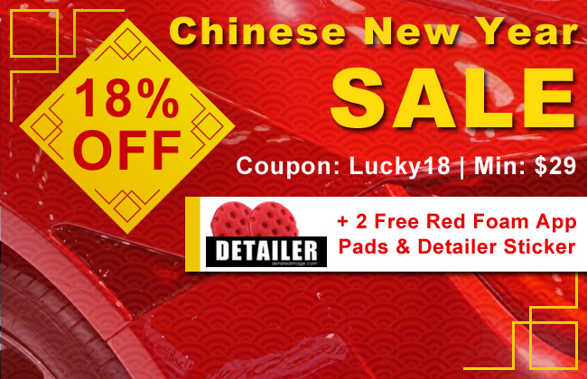 18% Off Chinese New Year Sale + 2 Free Red App Pads and Detailer Sticker - Coupon Lucky18 - Minimum $29