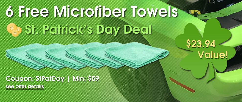 6 Free Microfiber Towels - St. Patrick's Day Deal - $23.94 Value - Coupon: StPatDay - Min: $59 - see offer details