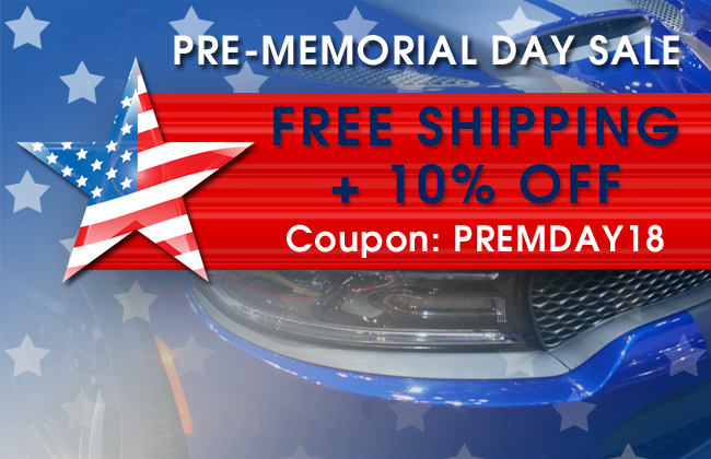 Pre-Memorial Day Sale - Free Shipping + 10% Off - Coupon: PREMDAY18