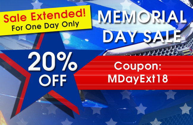 Sale Extended! For One Day Only - 20% Off Memorial Day Sale - Coupon MDayExt18