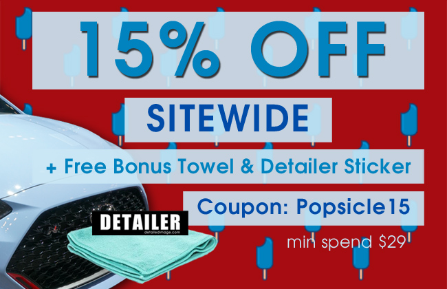 15% Off Sitewide + Free Bonus Towel & Detailer Sticker - Coupon Popsicle15 - min spend $29
