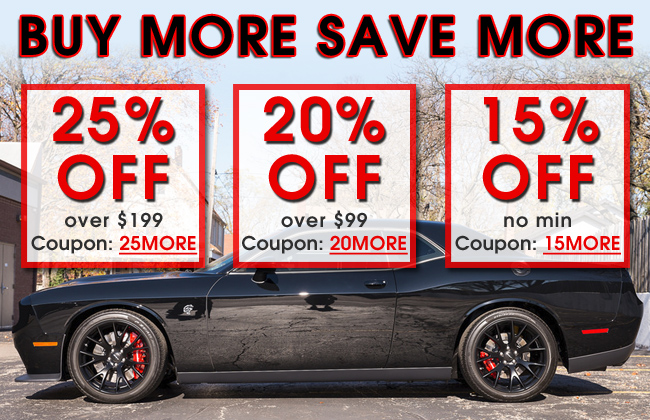 Buy More Save More - 25% Off Over $199 Coupon 25MORE - 20% Off Over $99 Coupon 20MORE - 15% off No Min Coupon 15MORE