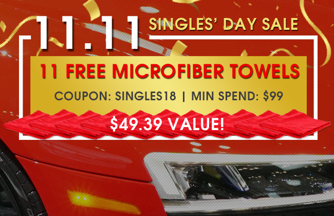 11.11 Singles' Day Sale - 11 Free Microfiber Towels - Coupon SINGLES18 - Min Spend $99