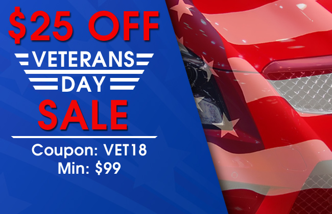 $25 Off Veterans Day Sale - Coupon VET18 - Min $99