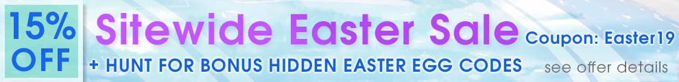 15% Off Sitewide Easter Sale - Coupon Easter19 + Hunt For Bonus Hidden Easter Egg Codes - see offer details