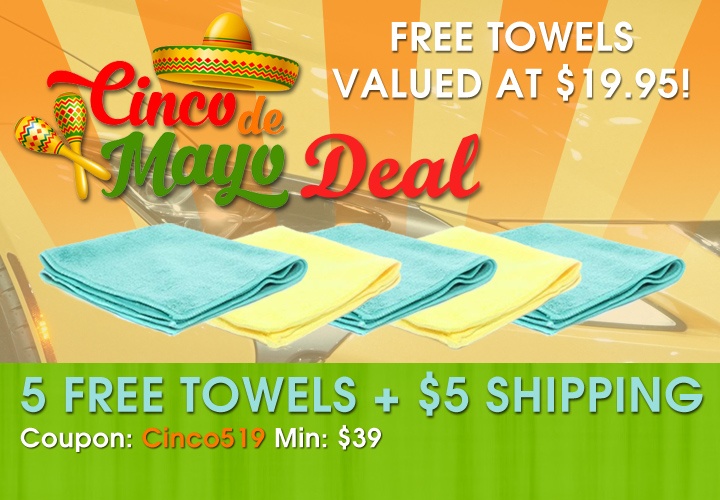 Cinco De Mayo Deal - 5 Free Towels + $5 Shipping - Coupon Cinco519 - Min $39