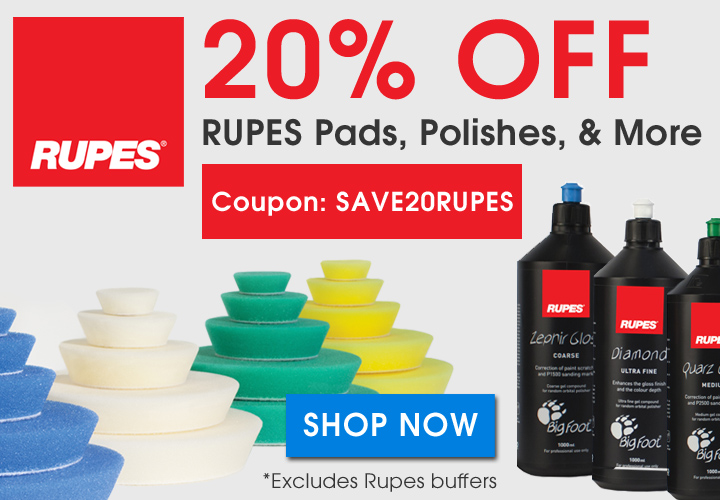 20% Off Rupes Pads, Polishes, and More - Coupon Save20Rupes - Shop Now - Excludes Rupes buffers