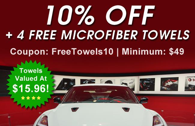 10% Off + 4 Free Microfiber Towels - Coupon: FreeTowels10 - Minimum: $49