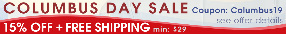 Columbus Day Sale - 15% Off + Free Shipping - Min $29 - Coupon Columbus19 - see offer details