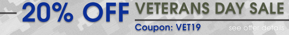 20% Off Veterans Day Sale - Coupon VET19 - see offer details