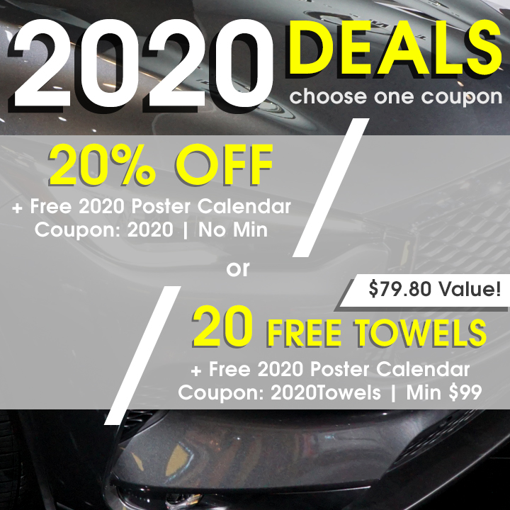 2020 Deals - choose one coupon - 20% Off + Free 2020 Poster Calendar Coupon 2020 w/No Min or 20 Free Towels + Free 2020 Poster Calendar Coupon 2020Towels w/Min $99