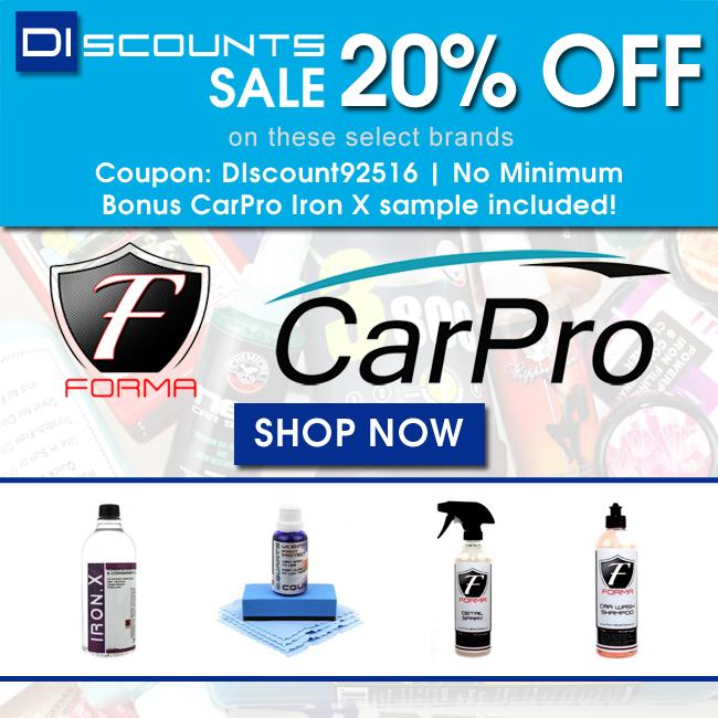 DIscounts Sale - 20% Off Forma & CarPro - Coupon DIscount92516 - Bonus CarPro Iron X sample included! - Shop Now