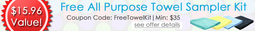 Free All Purpose Towel Sampler Kit - Coupon Code: FreeTowelKit - Min: $35 - $15.96 Value! - see offer details