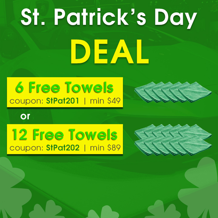 St. Patrick's Day Deal - 6 Free Towels Coupon StPat201 Min $49 - 12 Free Towels Coupon StPat202 Min $89