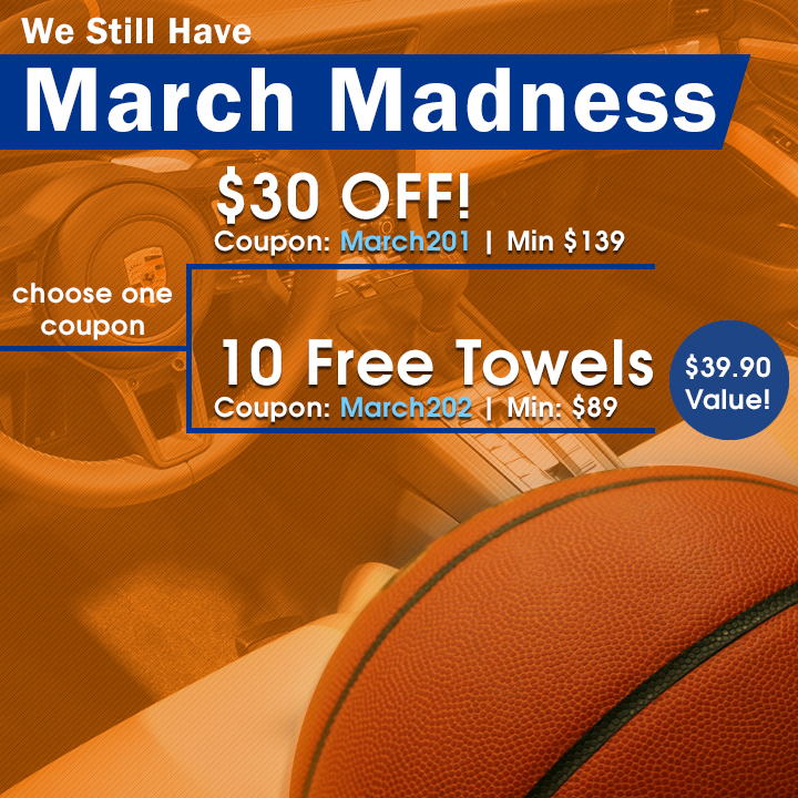 We Still Have March Madness - choose one coupon - $30 off Coupon March201 Min $139  or 10 Free Towels Coupon March202 Min $89