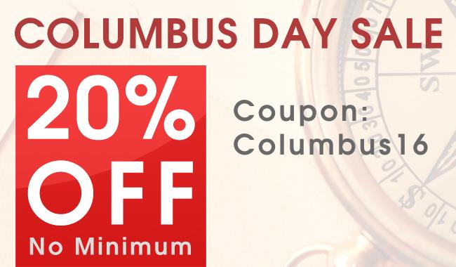 20% Off Columbus Day Sale - Coupon: Columbus16 - No Minimum