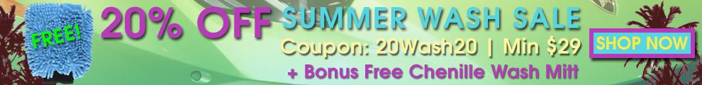 20% Off Summer Wash Sale + Bonus Free Chenille Wash Mitt - Coupon 20Wash20 - Min $29 - Shop Now
