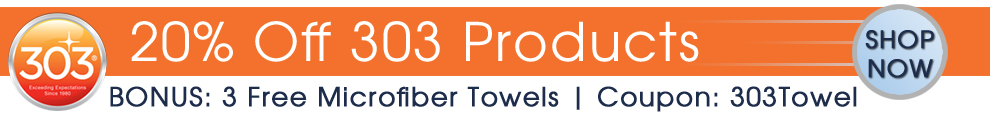 20% Off 303 Products - BONUS: 3 Free Blue Microfiber Towels - Coupon: 303Towel - Shop Now