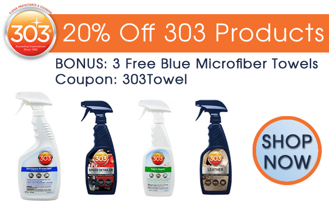 20% Off 303 Products - BONUS: 3 Free Blue Microfiber Towels - Coupon: 303Towel - Shop Now
