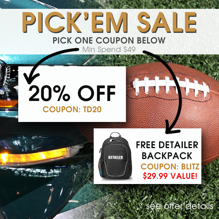 Pick'em Sale - Pick One Coupon - Min Spend $49 - 20% off Coupon TD20 or Free Detailer Backpack Coupon Blitz