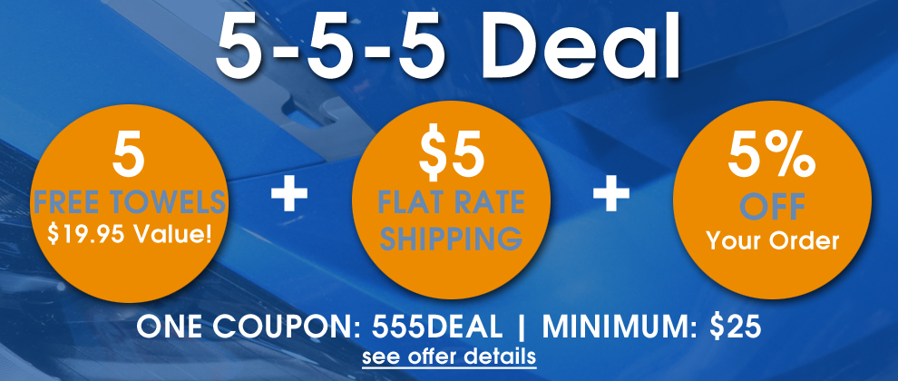 5-5-5 Deal - 5 Free Towels a $19.95 Value! + $5 Flat Rate Shipping + 5% Off Your Order - One Coupon: 555Deal - Minimum: $25 - see offer details