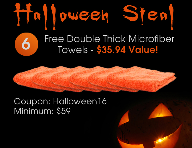 Halloween Steal! 6 Free Double Thick Microfiber Towels - $35.94 Value! Coupon: Halloween16 | Minimum: $59