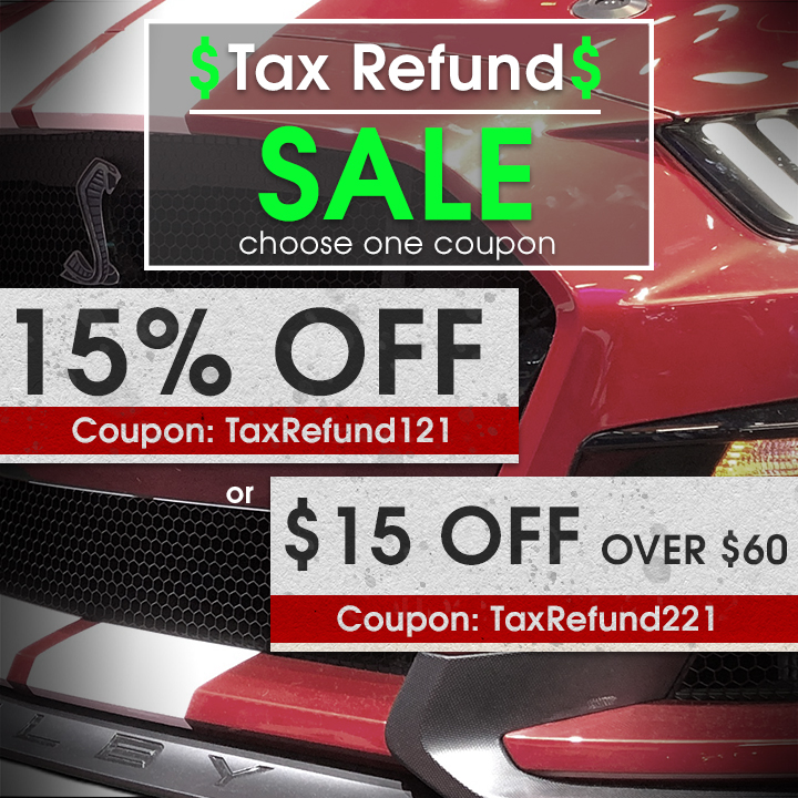 Tax Refund Sale - choose one coupon - 15% Off Coupon TaxRefund121 or $15 Off Over $60 Coupon TaxRefund221