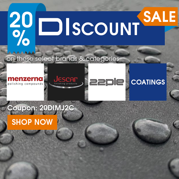 20% Off DIscount Sale on these select brands and categories - Menzerna, Jescar, 22PLE, and Coating Products - Coupon 20DIMJ2C - Shop Now